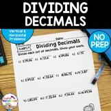 Decimal Unit - Dividing Decimals Worksheets - 5.NBT.7