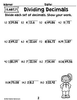 decimal unit dividing decimals worksheets 5 nbt 7 by teacher gameroom. Black Bedroom Furniture Sets. Home Design Ideas