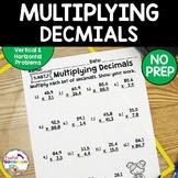 Decimal Unit - Multiplying Decimals Worksheets - 5.NBT.7