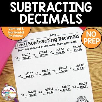 Decimal Unit - Subtracting Decimals Worksheets - 5.NBT.7