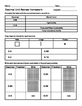 Decimal Unit Test, In-Class Study Guide, and Review Homework