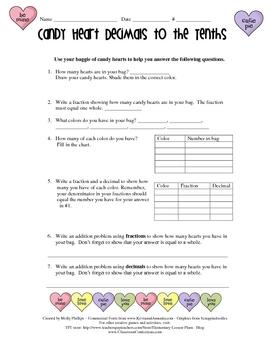 Valentine's Day Activity - Candy Heart Decimals Math Activity