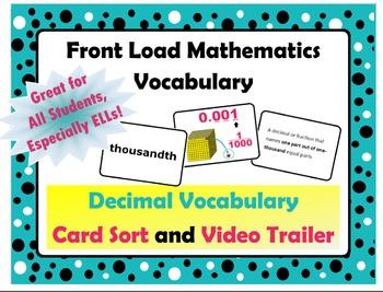 Decimal Vocabulary Card Sort and Trailer