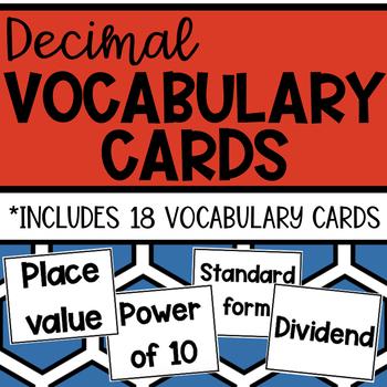 Decimal Vocabulary Cards
