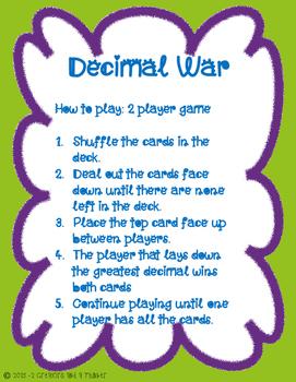 Decimal War - TEKS 5.2B