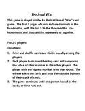 Comparing Decimals War