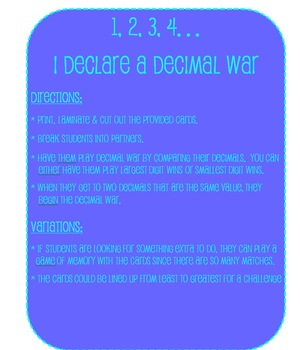 Decimal War - A Game for Middle Schoolers