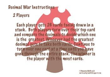 Decimal War (Comparing Decimals)