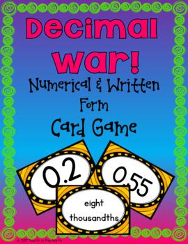 Decimal War! Comparing Decimals Card Game