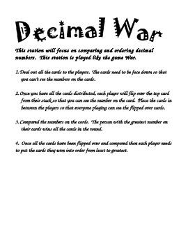 Decimal War- Comparing and Ordering Decimals