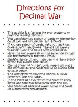 Decimals Activities and Games