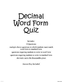 Decimal Word Form Quiz