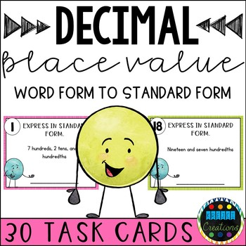 Decimal Word Form To Standard Form Task Cards By Krejci Creations