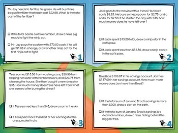 Decimal Word Problems Task Cards