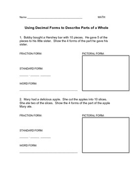 Decimal Word Problem (with fraction, pictoral, word,and standard form)