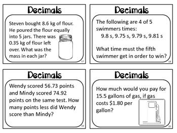 Decimal Word Problem Task Cards