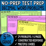 "Decimal Word Problems  - ""No Prep"" Test Prep"