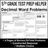 "Decimal Word Problems  - ""No Prep"" Test Prep"