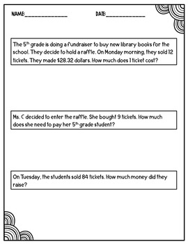 Decimal Word Problems- All Operations (Estimation Included)