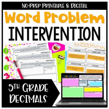 Decimal Word Problems: All Operations {No Prep Intervention}