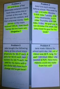 Decimal Word Problems Foldable SOL 6.7
