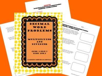Decimal Word Problems (Multiplication and Division)