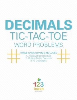 Common Core Decimals Review Activity (Word Problems) - Partner Tic Tac Toe