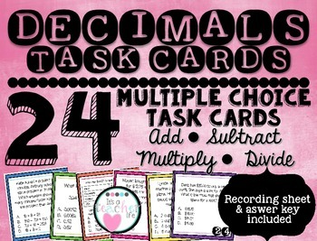 Decimal Word Problems Task Cards