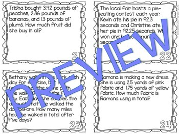 Decimal Word Problems Task Cards - Decimal Addition & Subtraction