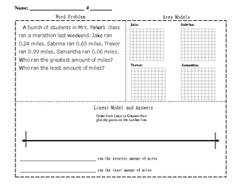 Decimal Word Problems Worksheet