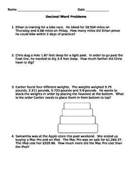 Decimal Word Problems with Addition and Subtraction