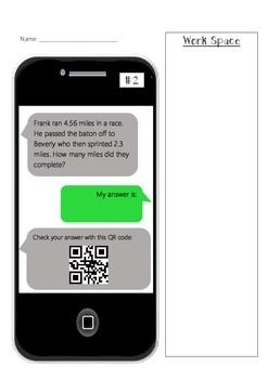 Decimal Word Problems w/ Text Messaging & QR Codes