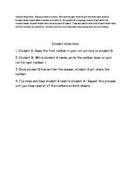 Decimal Word and Standard Form Partner Activity