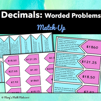Decimals - Worded Problems: Match Up