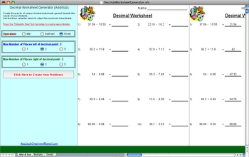 Decimal Worksheet Generator