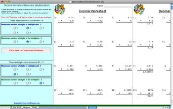 Decimal Worksheet Generator DEMO