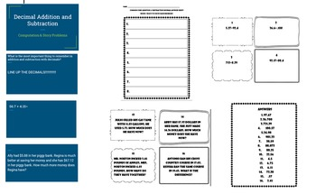 Decimal addition and subtraction BUNDLE