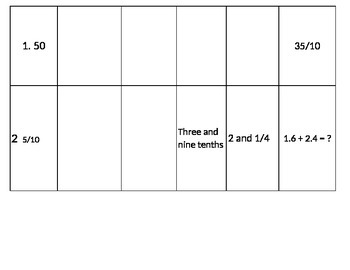 Decimal and Fraction Cards for number line