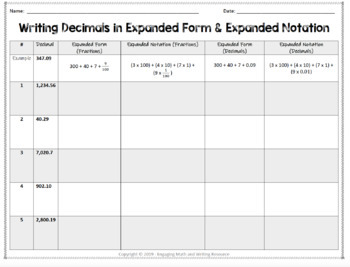Decimal and Fraction Equivalence Worksheets with Expanded Form & Notation