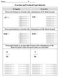 Decimal and Fraction Equivalencies Worksheet