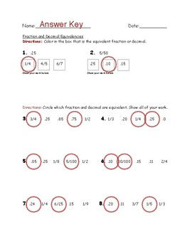 Decimal and Fraction Equivalency ANSWER KEY