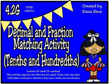 Decimal and Fraction  Matching Activity (Tenths and Hundredths) (TEKS 4.2G)