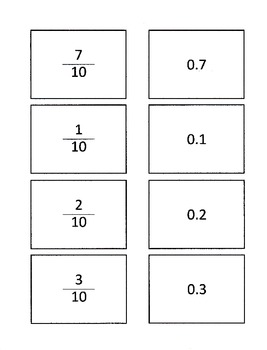 Decimal and Fraction Matching Game or Center