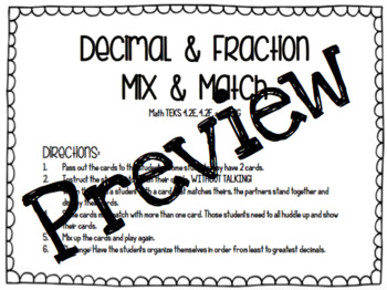 Decimal and Fraction Mix and Match
