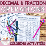 Decimal and Fraction Operations Coloring Activities