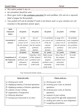 Decimal and Fraction Review Homework Packet  with Rubric and Reference Guide