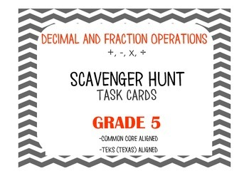 Decimal AND Fraction Operations (+,-,x,/, Computation ONLY) Task Cards- Grade 5