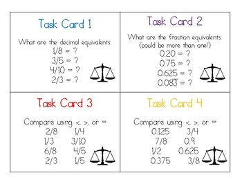 Decimal and Fraction Task Cards