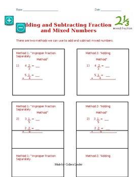 Adding & Subtracting Mixed Numbers Walk-through