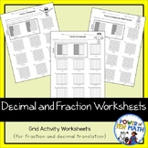 Decimal and Fractions Worksheet Activities {grades 3-5}